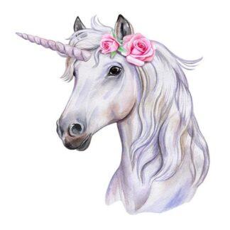 Wallsticker med et flot Enhjørning hoved. Hvid med pink roser.