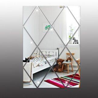 Diamant formet selvklæbende spejl klistermærker. 9cm. 16 stk