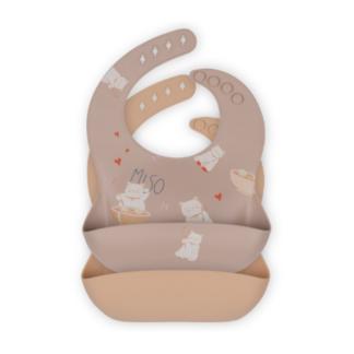 Konges Sløjd, 2-pak Baby Bib Silikone, Miso Moonlight / Shell
