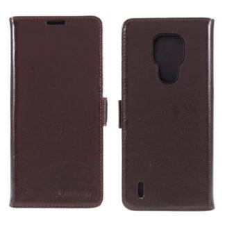 Motorola E7 - AZMARO ægte læder cover / pung - Brun