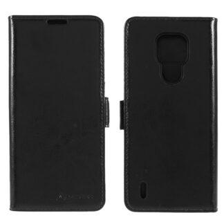 Motorola E7 - AZMARO ægte læder cover / pung - Sort