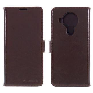 Nokia 5.4 - AZMARO ægte læder cover / pung - Brun