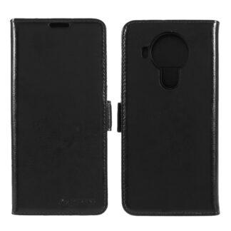 Nokia 5.4 - AZMARO ægte læder cover / pung - Sort