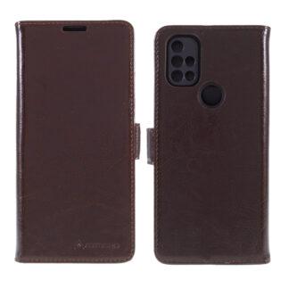 OnePlus Nord N100 - AZMARO ægte læder cover / pung - Brun