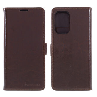 Samsung Galaxy A72 - AZMARO ægte læder cover / pung - Brun