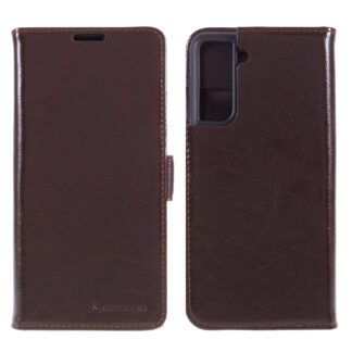 Samsung Galaxy S21 - AZMARO ægte læder cover / pung - Brun