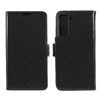Samsung Galaxy S21 - AZMARO ægte læder cover / pung - Sort