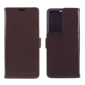 Samsung Galaxy S21 Ultra - AZMARO ægte læder cover / pung - Brun