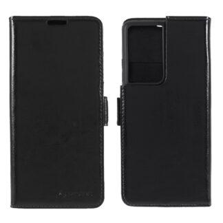 Samsung Galaxy S21 Ultra - AZMARO ægte læder cover / pung - Sort