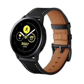 Samsung Galaxy Watch Active 1/2 - 40/44mm - Ægte læder urrem - Sort
