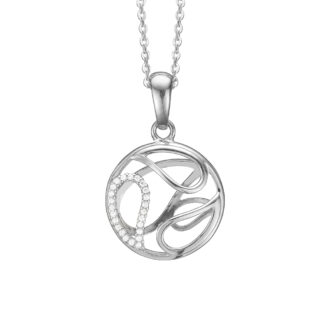 Aagaard 3D Cirkel vedhæng med kæde - 1680-S-S26-45