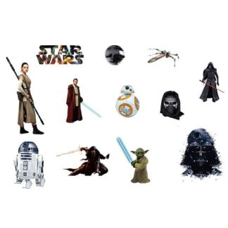 Flot Star Wars wallsticker med 12 forskellige motiver.