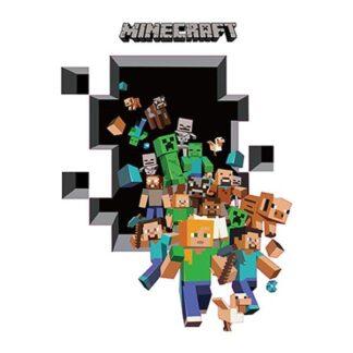 Minecraft wallsticker. På vej igennem et hul i væggen. 112x84cm.