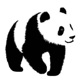 Sød Panda wallsticker med en stor panda. Sort/Hvid. 50x55cm