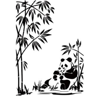 Sød Panda wallsticker. Mor med panda unge. 60x43cm