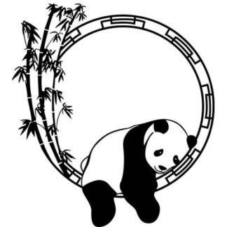 Sød Panda wallsticker. Panda slapper af. Sort/Hvid.