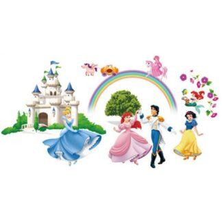 Wallsticker med dansende prinsesser. Ariel, Snehvide & Askepot.